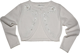 Bonnie Jean Little Girl 4-6X White Embroidered Soutache Flower Knit Cardigan Sw