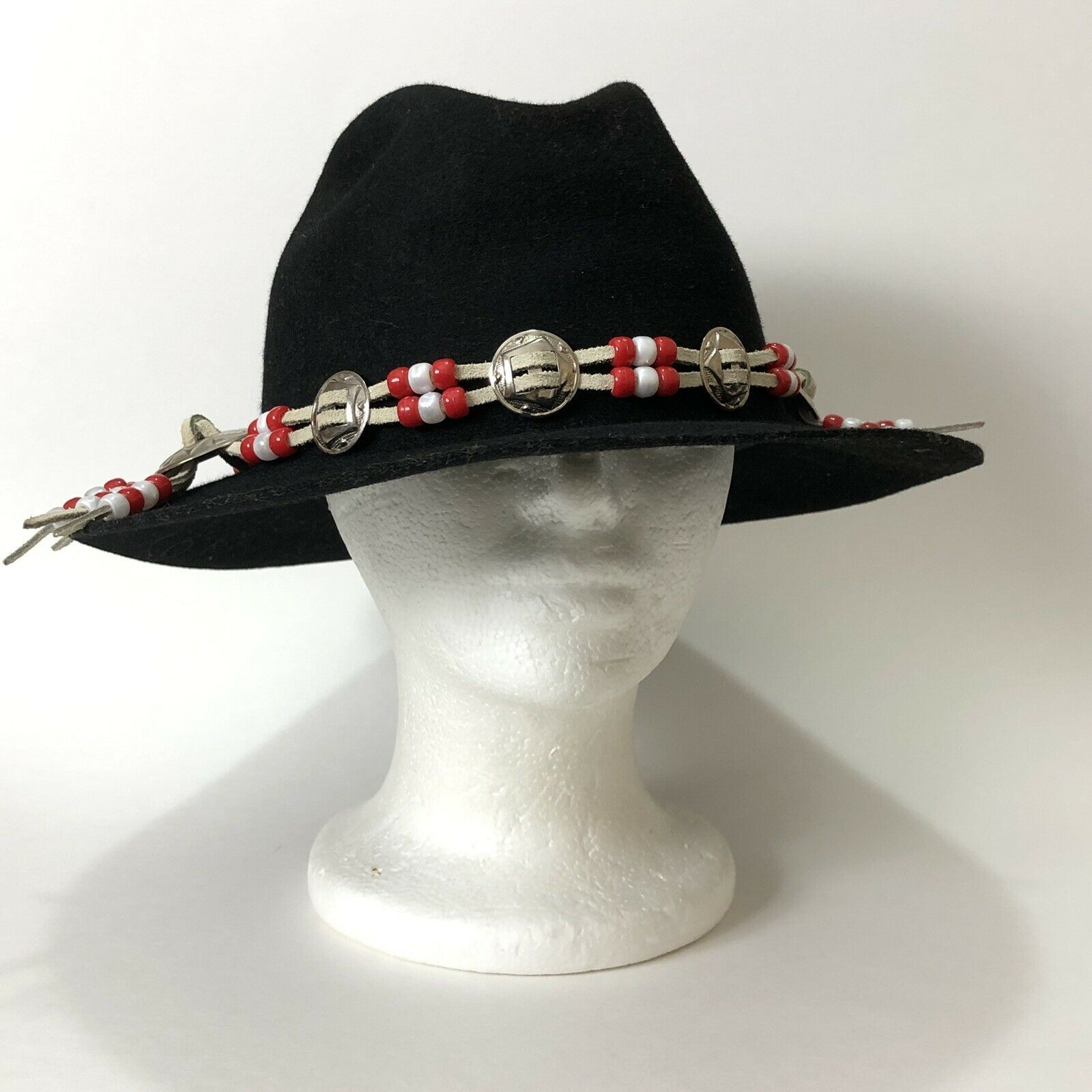 Vtg Western Outback Hat Mens Black Wool Felt Indiana Jones Dorfman Pacific USA  image 3