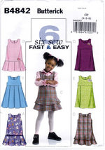 Butterick B4842 Toddler Girls Sewing Pattern Childrens Jumpers Kids Size... - $7.95