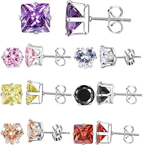XZP Mixed Shapes Stainless Steel Studs Earrings Heart Square Round Fashion Zirco
