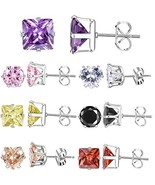 XZP Mixed Shapes Stainless Steel Studs Earrings Heart Square Round Fashi... - $11.14