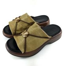 Dansko Womens Sandals Open Toe Clog Beige Fabric Low Wedge Slip On Shoes... - $37.99