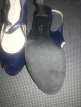 Franco Sarto Open Toe Leather spike Heels Womens Shoes Size 7.5 Navy Blue image 8