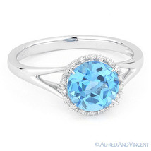 1.88 ct Round Cut Blue Topaz Diamond Halo Engagement Promise Ring 14k Wh... - £309.25 GBP
