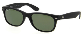 Nuovo Ray-ban Wayfarer RB 2132 622/58 Opaco Nero W/G-15 Verde Polarizzat... - $215.55