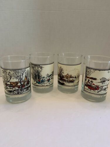 Vintage lot of 4 Currier & Ives Drinking Glasses- Arby's Collector's Series 1981
