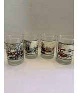 Vintage lot of 4 Currier & Ives Drinking Glasses- Arby's Collector's Ser... - $24.99