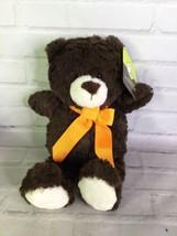 Animal Adventure Brown Plush Teddy Bear Stuffed Animal Toy Orange Bow 2017 NEW - $39.59