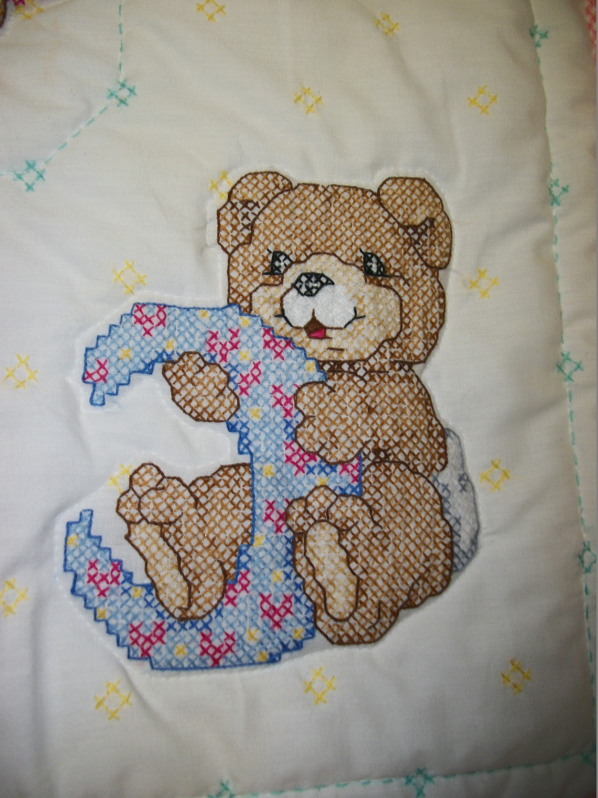 """Hand Quilted & X Stitched """"MR MOON & ME"""" Baby Quilt Crib Cover"""