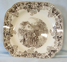 Spode Byron Square Lunch Plate HTF Black, Man on Horse - $59.29