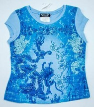 AMERICAN GIRL SIZE 4 5 TOP ICE  BLUE GLITTERY ASIAN INSPIRED SHIRT NEW C... - $9.89