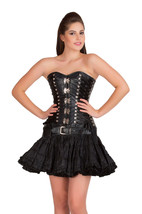 Black Leather Gothic Steampunk Overbust Costume & Tissue Tutu Skirt Corset Dress - $99.99