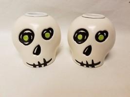2 HALLMARK HALLOWEEN Skull Taper Candle Holder RARE EUC - $29.69