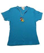 Disney Stretch V Neck Pull Over Minnie Daisy Pluto Blue Top Satin Trim S... - $14.99