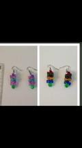 2 pair pierced beaded dangling earrings: green pink, blue red green yellow - $28.99
