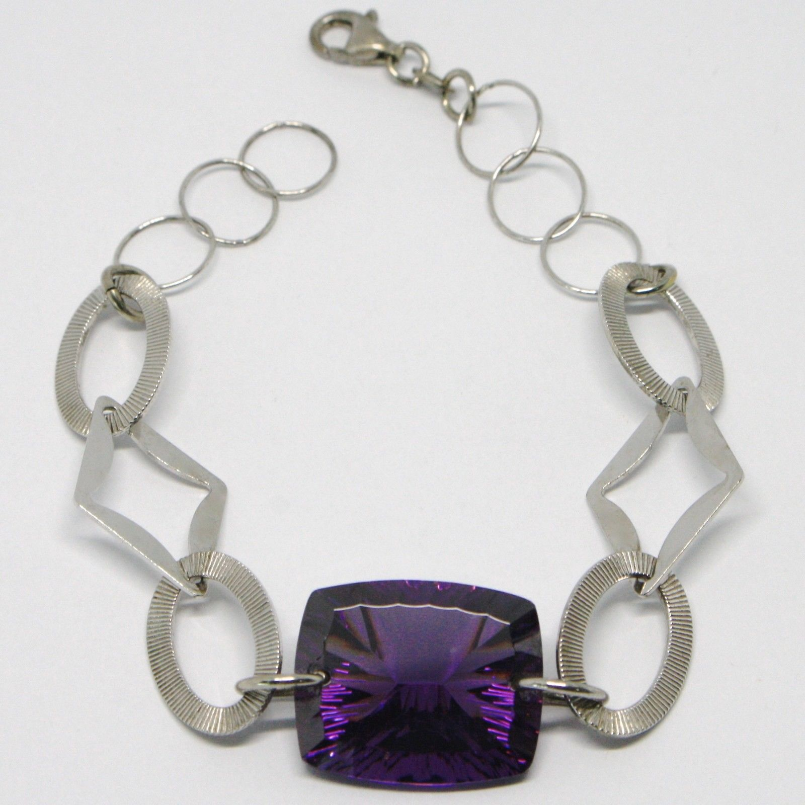 925 STERLING SILVER BRACELET BIG PURPLE FACETED CUSHION RECTANGLE, WORKED OVALS