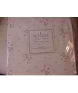 Hillcrest Country Cottage Pink Tea Roses on White Cotton Sheet Set King - $128.00