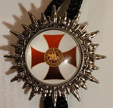Knights Templar Bolo Necklace Tie  - Red Cross White Background with Emblem image 1