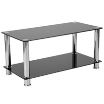 Riverside Collection Black Glass Coffee Table with Shelves and Stainless... - $77.97