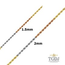 14k solid tri color gold women/ men's rope chain  1.5mm - 2mm - $196.30+