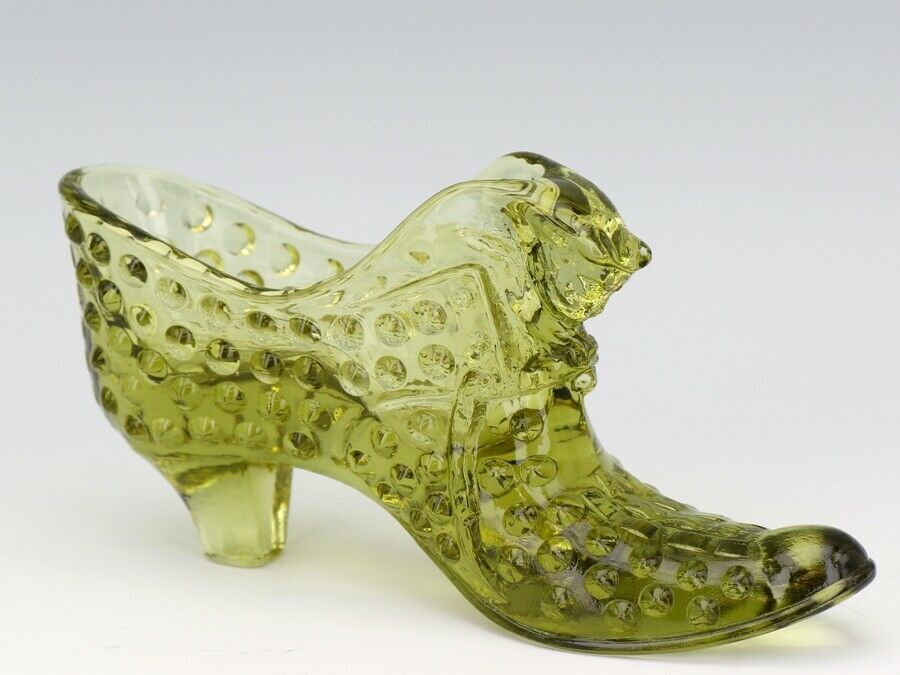 Vintage Fenton Art Glass Colonial Green Hobnail Cat Slipper