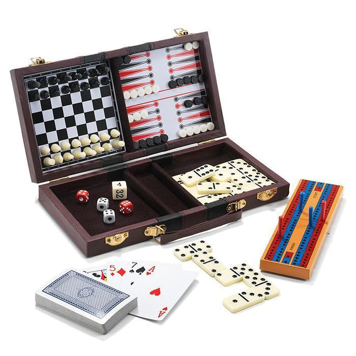 6-In-1 Travel Game Set Chess, Checkers, Backgammon, Cribbage, Dominoes and More