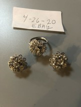Stunning Blingy Sarah Coventry Rhinestone Ring Size 6 And Clip On Earrings - $31.68