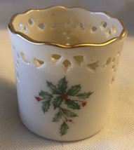 Lenox Holiday Pierced Gold Trimmed Votive or Pillar Candle Holder  Holly - $12.19