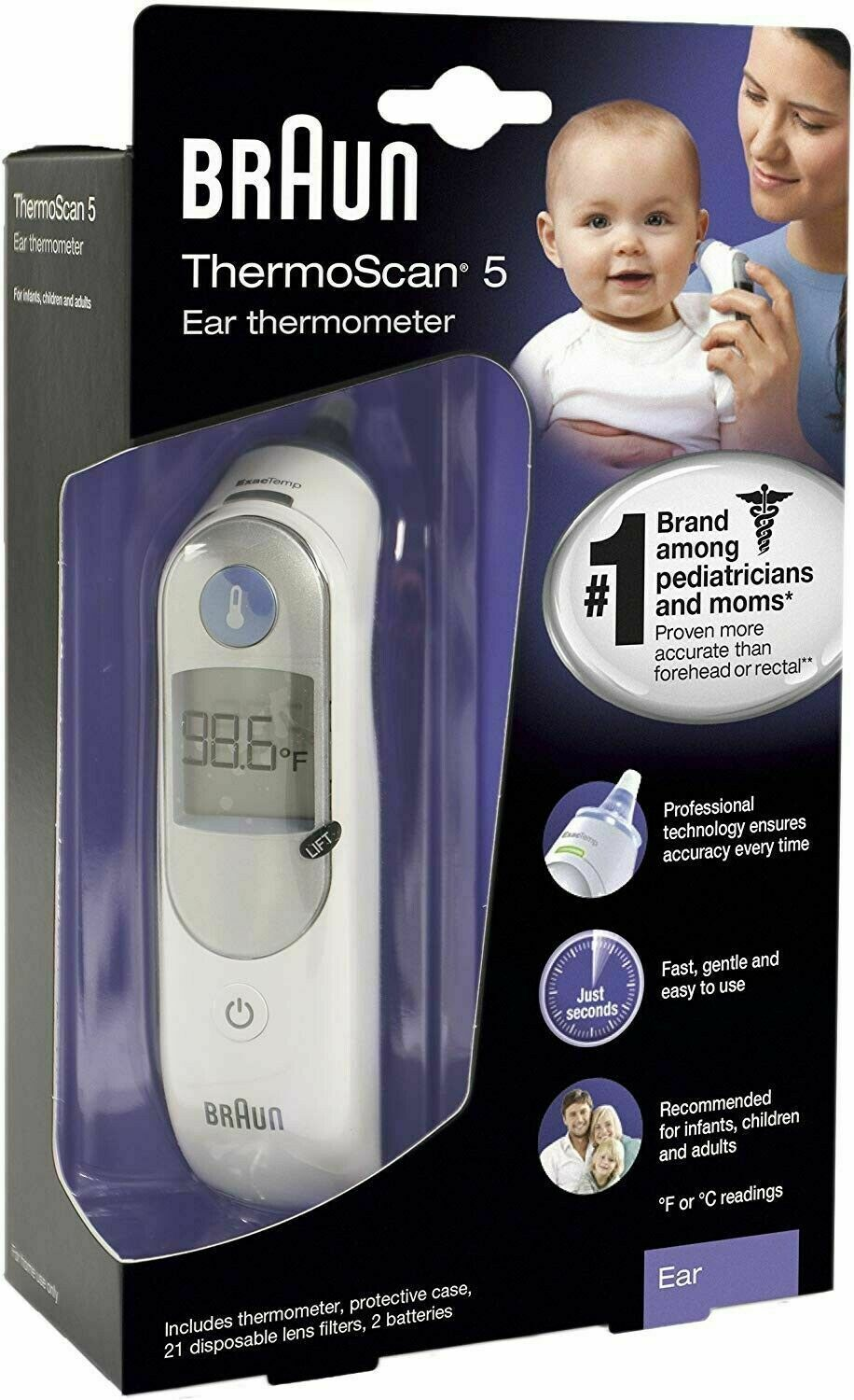 Primary image for Braun ThermoScan 5 ExactTemp Ear Thermometer IRT6500US New BoX FREE SHIP Today