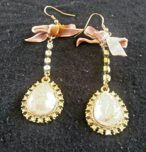 Vintage Long Sparkly Dangle Earrings with Bow - $3.00