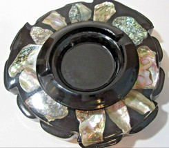 RESIN INLAID ABALONE BLACK ASHTRAY MID CENTURY GREAT LOOKING PLANT HOLDE... - $19.00
