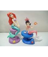 2 DISNEY STORE THE LITTLE MERMAID PRINCESS ARIEL & SISTER ALANA PVC FIGURES - $24.45