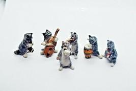 Cats Gray Ceramic Tiny 6 Different Musician Gift Figurine Statue Miniatu... - $48.28