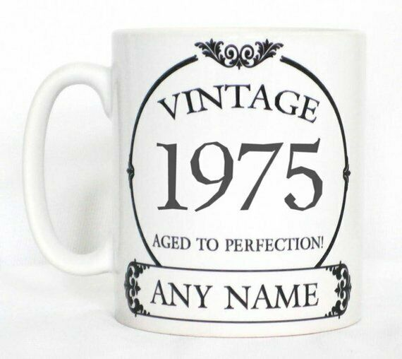 Vintage 1975 Aged To Perfection Mug PERSONALISED Wine Label Birthday Year Gift