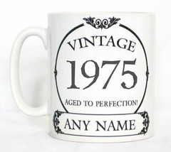 Vintage 1975 Aged To Perfection Mug PERSONALISED Wine Label Birthday Year Gift image 1