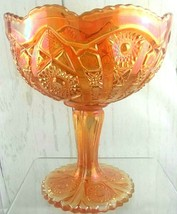 Vintage Imperial Carnival Glass Compote Marigold Color Fruit Candy Bowl - $47.60