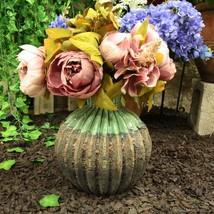 Ceramic Southwestern Contemporary Golden Barrel Cactus Floral Vase Decor... - $34.99