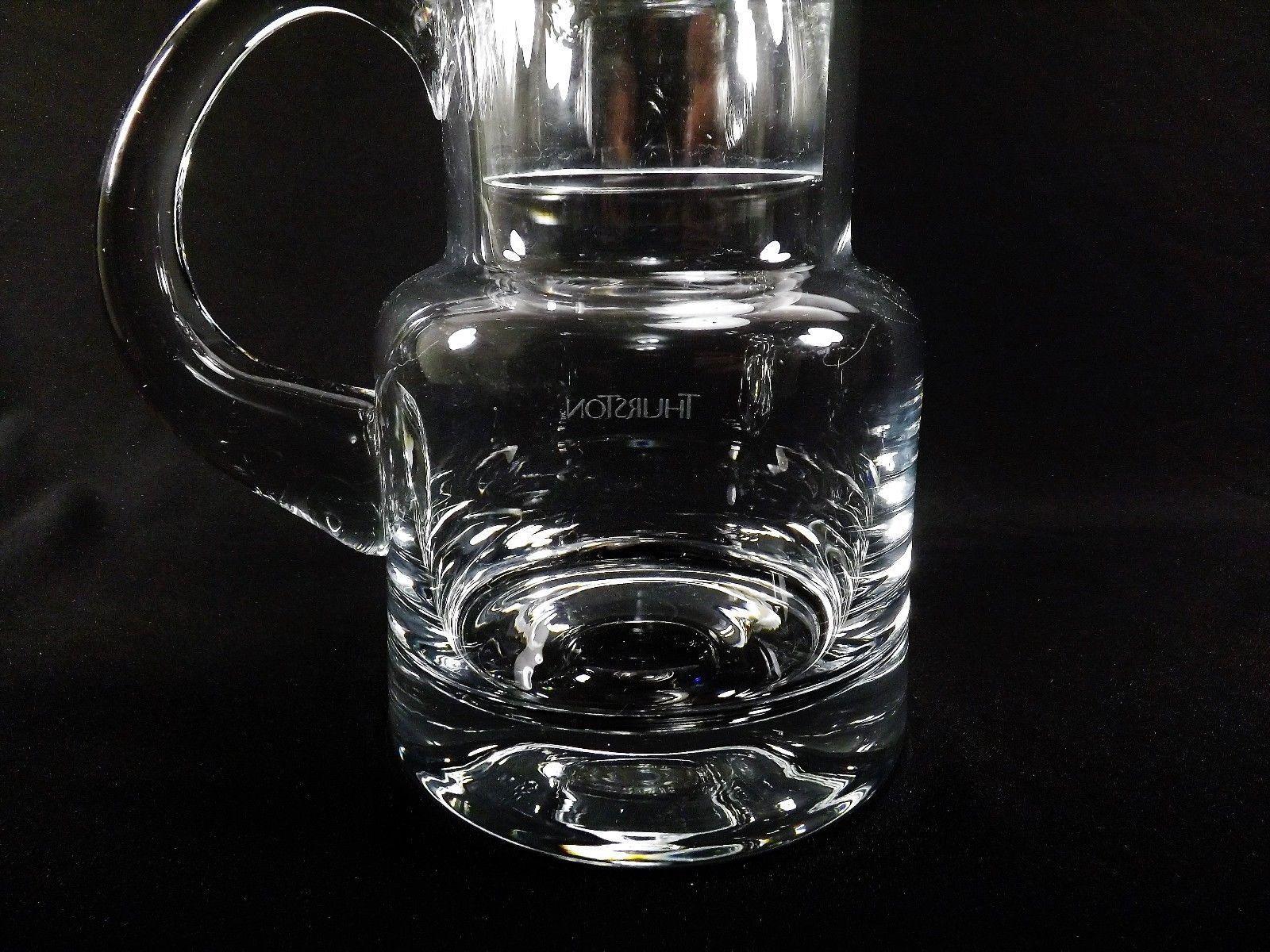 8277a03ec06 Tiffany   Co Crystal Bedside Pitcher   Glass Set Etched THURSTON Signed ...