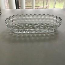 "Vintage Ornate Diamond Cut Pressed Glass Candy Dish Oblong Tray 8"" x 4"" ... - $12.62"