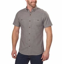 NEW G.H. Bass & Co. Men's Short Sleeve Crosshatch Woven Shirt - Pewter image 1