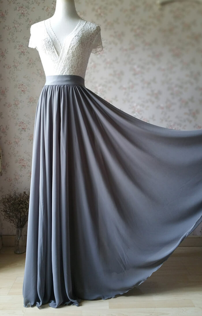 Bridesmaid chiffon skirt gray 1