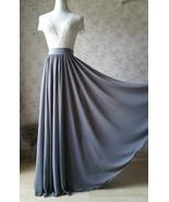 GRAY Chiffon Maxi Skirt Gray Bridesmaid Chiffon Skirt Wedding Party Plus... - $58.99