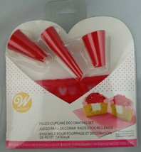 Wilton Valentine's Filled Cupcake Decorating Set 3 Tips & 8 Bags 2104-3830 - $4.94