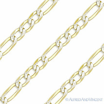 Italy .925 Sterling Silver & 14k Yellow Gold 4mm Figaro Link Chain Pave Necklace image 2