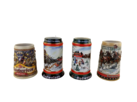 Lot of 4 vintage BUDWEISER Holiday/Collector Steins 1988 91 92 beer mugs  - $64.40