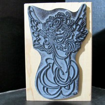 Precious Moments Lute Angel Stampendous Christmas Mounted Rubber Stamp 1997 - $17.59