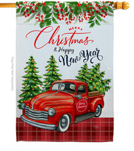 Christmas Happy New Year - Impressions Decorative House Flag H114230-BO - $36.97