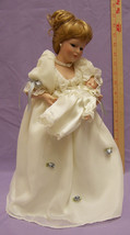 Avon Porcelain Doll Dolls Mother & Child 2000 White Gown Display Stand &... - $40.54