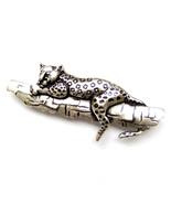 Brooch Silver Leopard Panther Black Spots Tree Branch Unisex Male Men Su... - $8.99