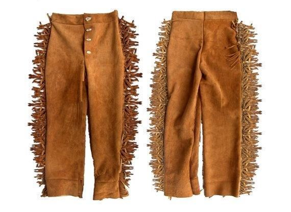 Men's New Native American Brown Buckskin Suede Leather Fringes Hippy Pants WP20